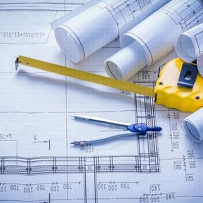 Bauplan, Zirkel und Maßband