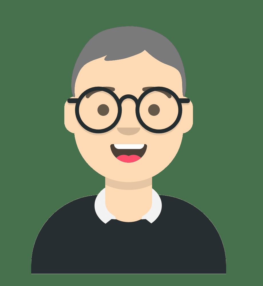 Comiczeichnung Mann, kurze graue Haare, Brille, freundlichen Lächeln, Pullover mit Hemdkragen