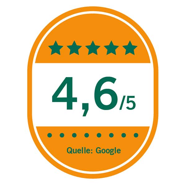 Auszeichnung 4,6 von 5 Sternen bei Google-Bewertungen