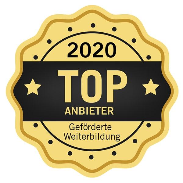 Auszeichnung als TOP Anbieter 2020 in geförderter Weiterbildung