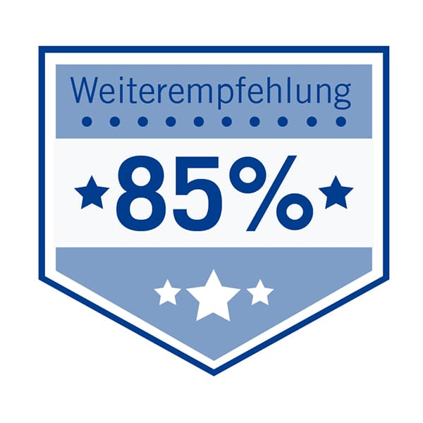 Auszeichnung 85% Weiterempfehlungsquote