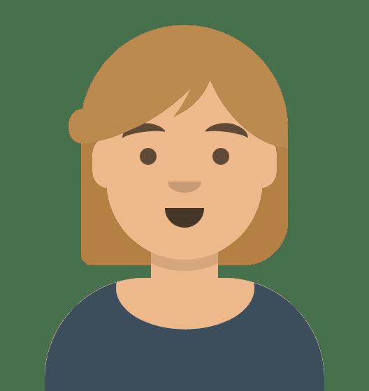 Comiczeichnung Frau mit mittellangen blonden Haaren, freundliches Lächeln, dunkelblauer Pulli