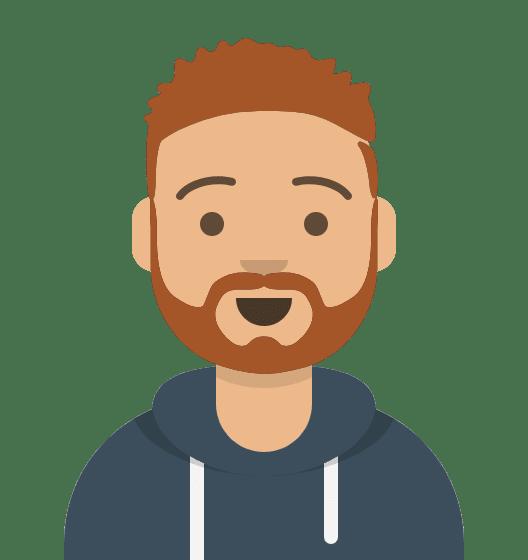 Comiczeichnung Mann, kurze rotbraune Haare, leichter Bart, Lächeln, mittelblauer Pullover