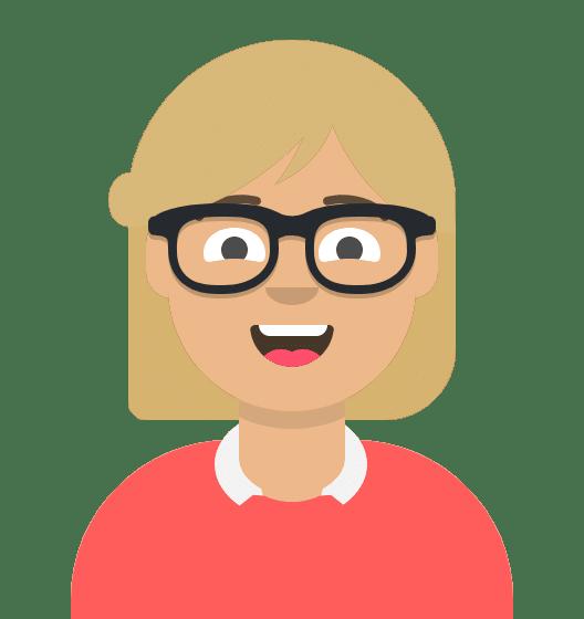 Comiczeichnung Frau, kurze blonde Haare, Brille, freundliches Lächeln, roter Pullover mit Bluse darunter
