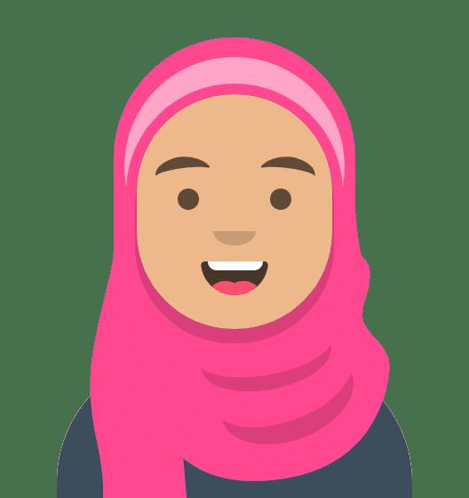 Comiczeichnung Frau mit pinkem Kopftuch, freundliches Lächeln, dunkelblauer Pulli